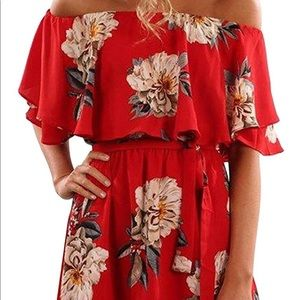 Dresses & Skirts - Red off the shoulder Tropical belted mini dress xl